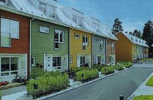 Stadsradhus liknande de här kan i framtiden byggas på Skönviksområdet i Säter.Illustration: Aedis arkitekter