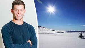 Christoffer Hallgren och ett soligt vinterlandskap. Bild: Foreca och TT.