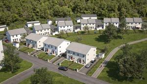 Det var sådana här hus som Ekeblad Bostad planerade att sätta upp i området. Nu förs diskussioner om andra områden i Granloholm. Bild: Pressbild