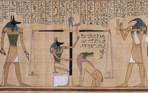 Egyptiska gudar med människokroppar och djurhuvuden i