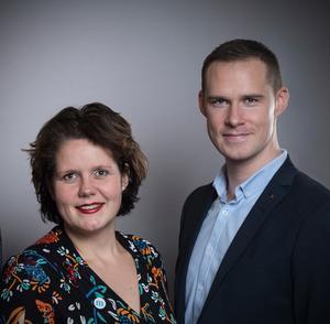 Jenny Landernäs (M), oppositionsråd Region Västmanland och Mikael Andersson Elfgren (M), förbundsordförande Moderaterna Västmanland.