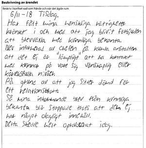 Tova Mobergs mördare JO-anmäler att han inte får brevväxla med sina kvinnliga vänner.