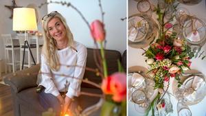 Madeleine gör en vårfin dukning med tulpaner och kvistar från naturen.