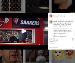 Printscreen från Brynäs Instagramkonto.