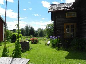 En bild ur boken: Hemma hos Anja Tengnér. Humlestörar på gårdsplanen och odlingar nedanför husen.Foto: Boel Tengnér
