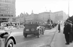 Tyska trupper rullar in i Oslo 1940. Foto: Möller