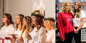 Sofia Graeve var årets Lucia på Timrå gymnasium och sjöng solo.
