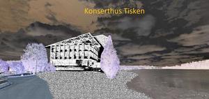 Hasse Ericsson föreslår att Faluns nya konserthus ska byggas vid Tiskens strand och skickar med denna idéskiss.  Illustration: Hasse Ericsson