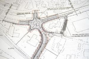 Detalj ur Trafikverkets vägplan för omdragningen.