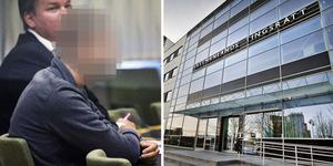 Den nu frikände 27-åringen tillsammans med hans dåvarande försvarare, advokat Jascob Asp, under häktningsförhandlingen i Västmanlands tingsrätt.