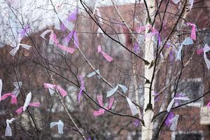 I stället för fjädrar valde Leksands kommun förra året att pynta påskträden med tygremsor.Bild: Klockar Mattias Nääs