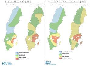 Grundvattennivåerna nu jämfört med mätningen vid månadsskiftet maj-juni. Bild: Sveriges geologiska undersökning (SGU)
