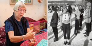 Gun Lyrberg berättar om när hon var flicka och tävlade i utförsåkning. Hon började åka skidor redan när hon var två år gammal. I dag är hon 76 år och fortfarande är fritidsintresset utförsåkning Bild: Roger Wallenius/Privat
