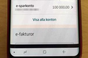 Den här skärmdumpen skickade mannen till flera kvinnor där han påstod att han hade 100 000 kronor och kunde betala tillbaka.