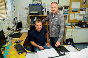 Patrik Lönn och Ulf Flank, HB Bygg, på företagets huvudkontor i Söderhamn.