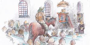 Det sägs att Bråsta-Lasse en juldagsmorgon red in i sockenkyrkan på sin häst som hade hästskor av silver. Illustration: Bo Svärd