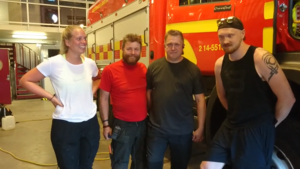 Brandmännen Sophie Lanner, Örjan Fjellner, Jan-Åke Tjärnås och Johan Israelsson på brandstationen i Sveg.