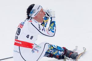 Kalla vrålar ut sin glädje efter krossen i Falun.  Foto: Terje Bendiksby / NTB scanpix / TT / kod  20520