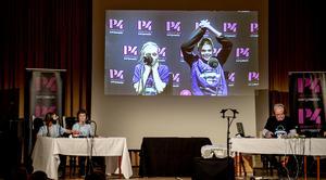 Markus Skröder och Saga Berglund från Domsjö vände och tog ledningen efter snabbfrågorna. Tigra Edin Vasic och Gunnar Dalén från Alnö kom igen och vann. Vi i femmans trogna programledare Lennart Sundwall.