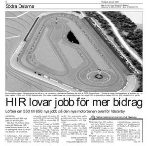 Tidningssida ur Södra Dalarnes Tidning, den 2 januari 2001.