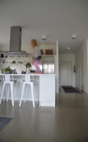 Belle studsar på köksbänken. Foto: Anna-Lena Wickman/Anders Holmberg Arkitekter