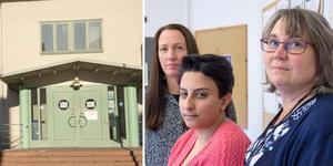 Arbetsförmedlarna och arbetsplatsombuden Carina Allenbäck, Hend Allabwani och Åsa Jacobs tror att många arbetssökande kommer att knacka på dörren på måndag och då bli varse om att Arbetsfömedlingen har stängt för spontana besök.