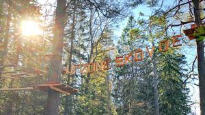 I höghöjdsbanan i Skövde befinner man sig 12 meter upp, mitt bland trädtopparna. Där ska man klättra från plattform till plattform, en riktig utmaning för de som är höjdrädda.Foto: Ann Walldén/Next Skövde