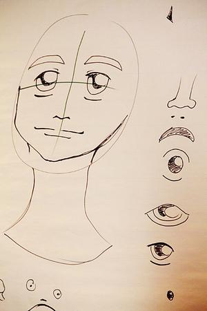 När man tecknar en Manga-figur kan man utgå från ett kors för att få balans mellan ögonen och de rätta proportionerna.