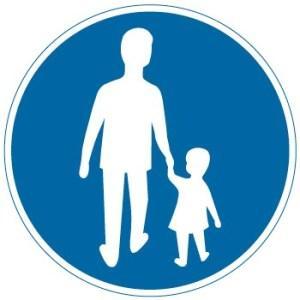 Påbudsmärke för gångbana. Här får vi inte cykla.