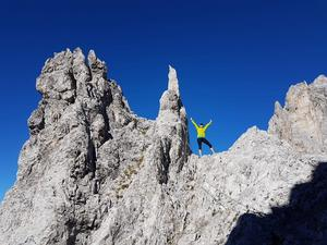 När Karin Trolin var på lavinkongress i Innsbruck, Österrike tog hon en klätterpaus på lunchen.