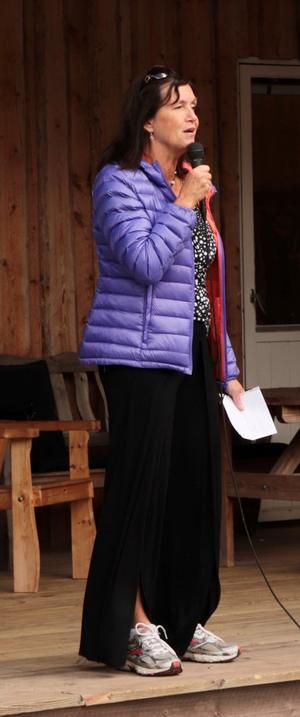 Tidaholms nya museiintendent Anja Praesto talade vid återinvigningen.