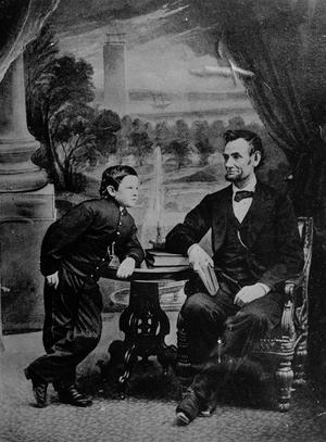 President Abraham Lincoln tillsammans med sonen Tad. Tad var yngre bror till Willie som dog i tyfus, elva år gammal. Arkivbild.