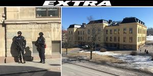 Det skedde en polisinsats på Härnösands gymnasium efter att en person iakttagits med ett vapenliknande föremål. Fotot är ett montage. Bild: Allehanda