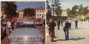 En av de som flitigt har delat foton i Hallsta-gruppen är Åsa Mattson. Här till vänster syns Hallstaviks centrum som hon fotograferade 1969. Till höger har vi Centralskolan i Hallstavik fotograferad av Ingrid Hanze.