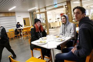 Lilly Åkerblom, Sami De Wachter och Adam Hedendahl lunchade på fredagen i matsalen. De tycker att matsalen är drabbad av köer ibland men är nöjda över att det finns flera alternativ när det kommer till att välja mat.