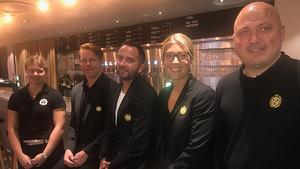 Brynäs kvintett på SDHL:s upptaktsträff, Maja Nyhlén Persson, Andreas Dackell, Micke Campese, Erika Grahm, Henrik Glaas.