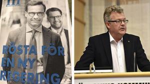 Den falska valaffischen och Lars Näslund, gruppledare för Moderaterna i Örnsköldsvik.