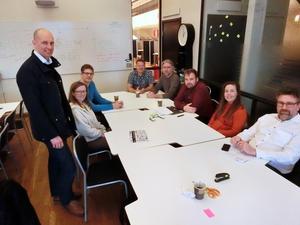 Utvalda företagare från vänster: Simon Oest, Marielle Brovinger, Johan Klitkou, Pelle Simonsson, Jens Jensen, Thomas Green, Ida Asp och Joakim Persson.