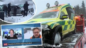 Två olyckor inträffade på riksväg 50 mellan Borlänge och Ludvika på tisdagsmorgonen. Först kolliderade en ambulans och en personbil och sedan inträffade en krock i kön som bildats efter den första olyckan.  Foto: Kajsa Thorp Backlund och Jerry Brodin