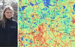 Enligt Sveriges geologiska undersökning (SGU) är halterna av gammastrålning (uran) i Sala och Heby störst vid de röda områdena på kartan, vid dessa områden är också markradonet mest utbrett. Detta visar dock inte på alla riskområden då även områden med låga halter, men högt genomsläpp i marken, kan vara drabbade. Mark med högt genomsläpp är bland annat åsar, som finns i Runhällen och Tärnsjö. Att mäta halterna i sitt hus är rekommenderat, men allt färre gör det, menar bland annat miljöinspektören Maria Bröms på Sala-Hebys bygg- och miljökontor.Foto: Maria HallKarta: SGU