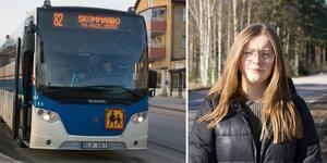 Vendela Hjort som går på gymnasiet i Fagersta är frustrerad över att hon inte längre får åka med buss 82 hela vägen till Virsbo.