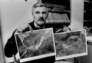 Börje Norell var flygplanslärare 1986 och befann sig i luften ovanför militärförrådet när det exploderade.                                                                                  – Hade vi varit närmare hade vi inte haft en chans. Det hade bara blivit skrot kvar av vårt lilla Cessna-plan, sa Börje Norell, till Länstidningen.             Polisen bad Börje att stanna kvar på platsen så att de lättare skulle hitta och under tiden passade han på att fotografera området från luften.                          – Det var en helt otrolig syn. Allt var rensopat. Runt den 300 meter breda kratern brann det överallt.                                                                                                                             Bild: Olof Näslund.
