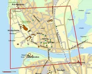En karta över området där skadegörelserna har skett. Foto: Polisen Dalarna