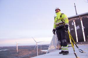 Andreas Larsson, vindkraftstekniker.