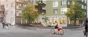 Här en inspirationsbild på ett stadsstråk med ett litet torg från Nockebyhov i Stockholm. Skiss: Södertälje kommun/Engstrand & Speek
