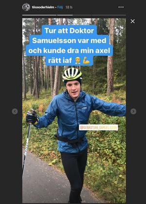 Skärmdump från Tiio Söderhielms instagram från träningspasset med Sebastian Samuelsson.
