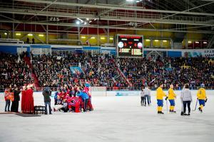 Ryssland har precis vunnit VM-finalen 2015 i Erofey Arena. Bild: Jessica Gow/TT.