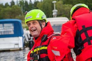 Gustav Wallheden berättar att målsättningen är att hydrokoptern ska tas i bruk första veckan i februari.