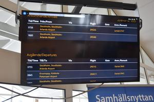 Ankomster och avgångar från Höga kusten airport i Kramfors med den nya tidtabellen.