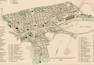 Lantmätaren Gustaf Ljunggrens stadskarta från 1858 visar ungefär hur staden såg ut i samband med branden elva år senare.